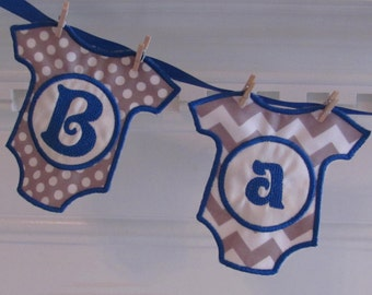Baby Boy Fabric Banner in Gray Chevron and Gray and White Dots for a Shower Decoration, Shower Gift, and/or Room Decoration Fabric Banner
