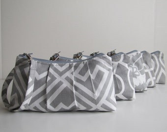 Set of 7 Bridesmaid Gift / Bridesmaid Wristlet Clutch / Gray Collecton Your Choice Fabric