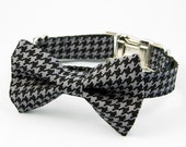 Bow Tie Dog Collar - Houndstooth
