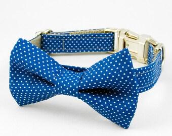 Bow Tie Dog Collar - Blue Pin Dot
