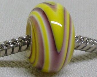 European Style Large Hole Charm Bead Handmade Lampwork Bead Yellow and Purple Swirl