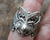 Soaring Bird Ring, Soaring Barn Swallow,  EXCLUSIVE DESIGN by Enchanted Lockets