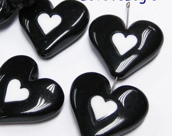 8 Huge Acrylic Puff Heart Bead. Jet with White Heart