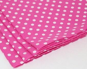 Pink Polka Dot Cloth Napkins Set of 4