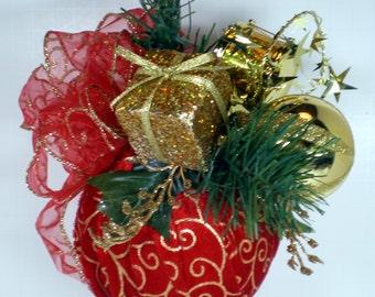 Velvet Christmas Ornament, Red Velvet Christmas Ornament