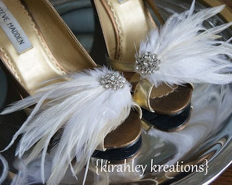 Shoe Clips Vintage Style Cream Ivory White Wedding PETITE MARY LOU Bridal Bride Bridesmaids Feather Rhinestone Shoes Prom Party Accessory