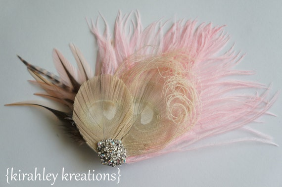 Pink Champagne Ivory Peacock Feather Wedding Bridal Hair Clip ALYSSA Bride Bridesmaid Vintage Victorian Fascinator Iridescent Rhinestones