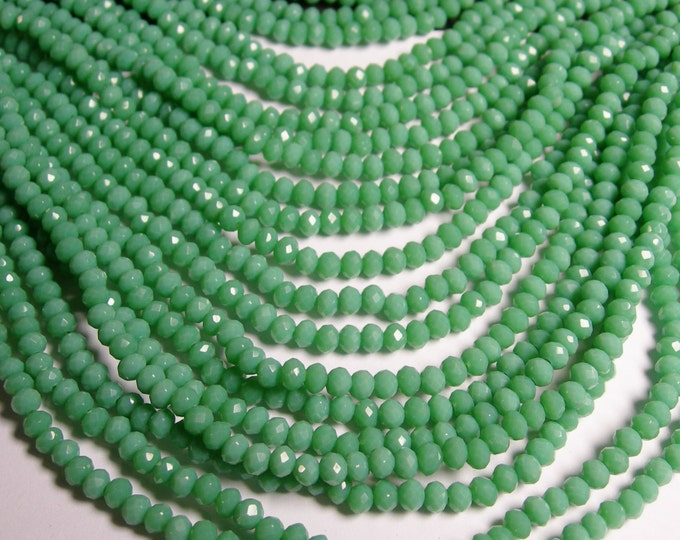Crystal faceted rondelle - 145 pcs - 18 inch strand - 4 mm - A quality - green turquoise color - FCRM42