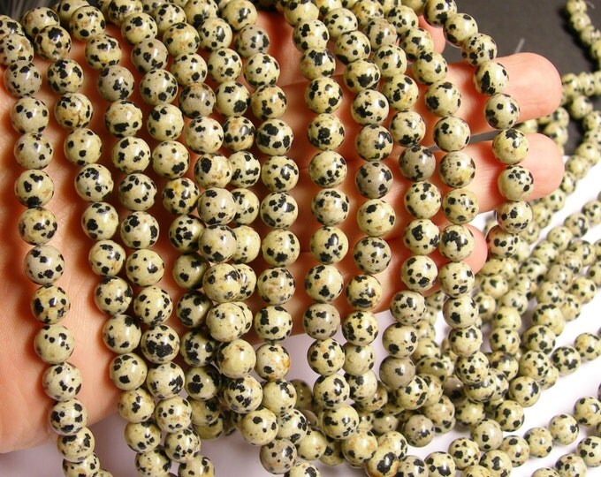 Dalmatian jasper - 8 mm - 49 beads - full strand - A quality - RFG237
