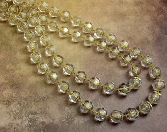 Beaded Necklace, Long, Clear Plastic Faceted, Gold Center