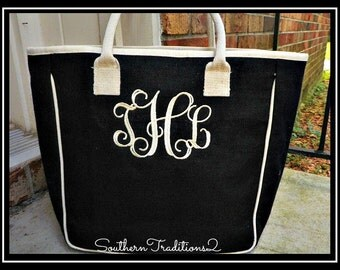 Monogrammed Large Zippered Jute Two-Toned Tote Bag Bridal Party Favor Bride Bridesmaid Sorority Beach