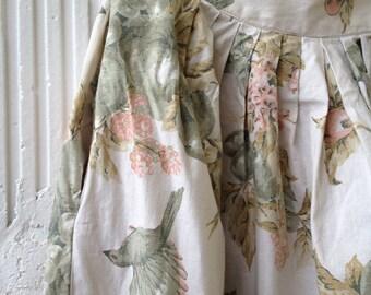 SALE 50% off  1970s Chintz Fruit Floral Bird Print Skirt