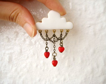 White cloud red hearts chandelier brooch pin - J'aime la pluie