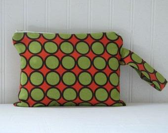 Diaper/Wipe Zipper Pouch in Green, Orange and Brown Dots  by  MOMnI
