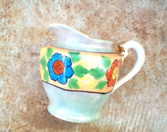 Luster Ware, small pitcher, creamer, Japan, floral