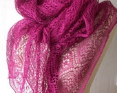 Linen Scarf Lace Shawl Knitted Natural Summer Wrap for Women in Peony Pink/ Fuchsia/ Magenta