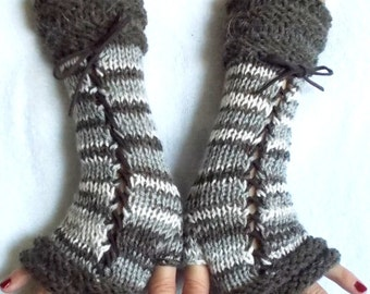 Fingerless Gloves Knit Women Corset Arm Warmers in  Grey Brown White Tones