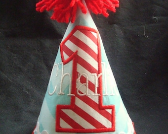 PERSONALIZED BOY'S Birthday Hat - Dr. Seuss colors - Red, Blue and White