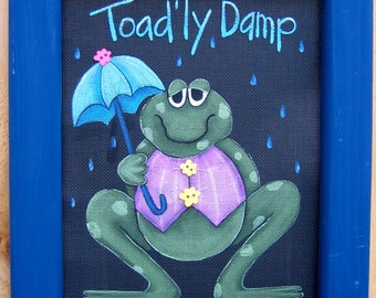Toad'ly Damp Toad or Frog, Holding Umberella, Tole Painting Pattern, Spring Time, April Showers,DIY, Instructional Painting Pattern