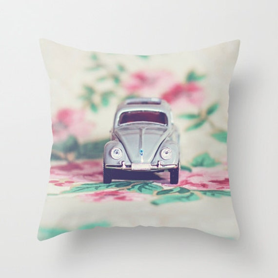 Pillow Cover VW Beetle Pink Green Dorm Decor Home