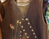 Steampunk Brown Military Leather Vest