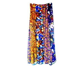 Vintage 1970's Bohemian Multi-Print Flowing Maxi Skirt with Onyx and Gold-Adorned Buttons and Slits