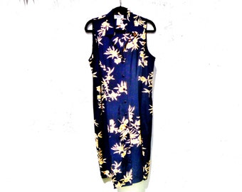 Vintage 90's Navy and Tan Floral Print Sleeveless Button-Down Maxi Dress with Collar Women's Extra Large