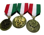 Steampunk Cosplay Medal // Custom DOUBLE CHARM Medallion // Green White Red Ribbon