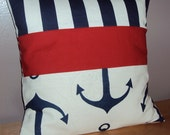 Navy Blue Anchor and Stripe Nautical Decorative Pillow Cover - Available In 3 Sizes