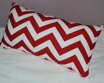 Red and White Chevron Zig Zag Decorative Lumbar Pillow Cover - Available In 3 Sizes