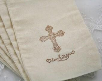 Cross Favor Bags Thank You Muslin Bags Christening First Communion Baptism Favor Set of 10