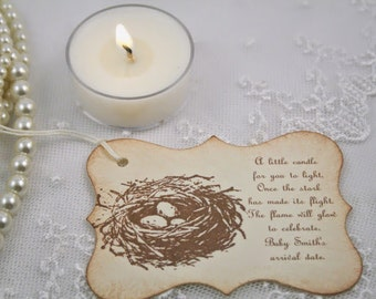 Candle Favor Tags Baby Shower Bird Nest Eggs Once the Stork has made its Flight Set of 10