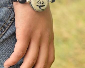 OOAK Moon Face Bangle Bracelet