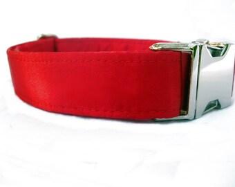 Satin Wedding Dog Collar - Red Satin