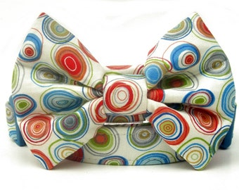 Designer Bow Tie Dog Collar - Colorful Circles on Ivory