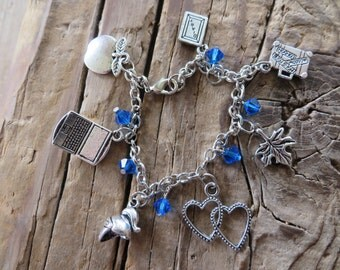 Companions of 11th Doctor Who Inspired  Silver Charm and Crystal Bracelet