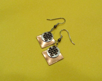 Checkerboard square copper and silver earrings (Style #475)