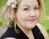 PETAL PINK And IVORY Bridal Hair Comb, Silk Flower Bridal Hair Comb, Pink Weddings, Pink Bridal Hair Comb, Pink Bridal Hair Accessory