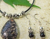On SALE!!  Black & Gray Jasper Pendant Black Leather Necklace and Earrings