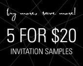 Unique Invitation Samples for your Wedding, Cocktail/Dinner Party, Rehearsal Dinner, Shower, Quincenera, Anniversary & Corporate Event
