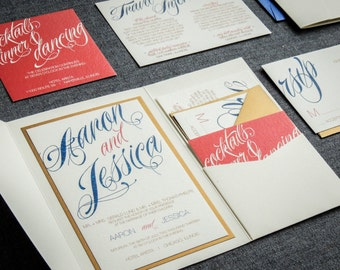 "Coral and Navy Wedding Invitations, Modern Script Invitations, Pocket Fold Wedding Invites, Destination - ""Sweeping Script"" PF-1L-v1 SAMPLE"