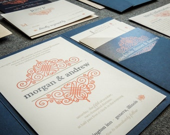 "Vintage Scroll Invitations, Navy Blue Pocketfold Wedding Invitation, Blue and Orange Invites - ""European Scroll"" PF-NL-v3 SAMPLE"