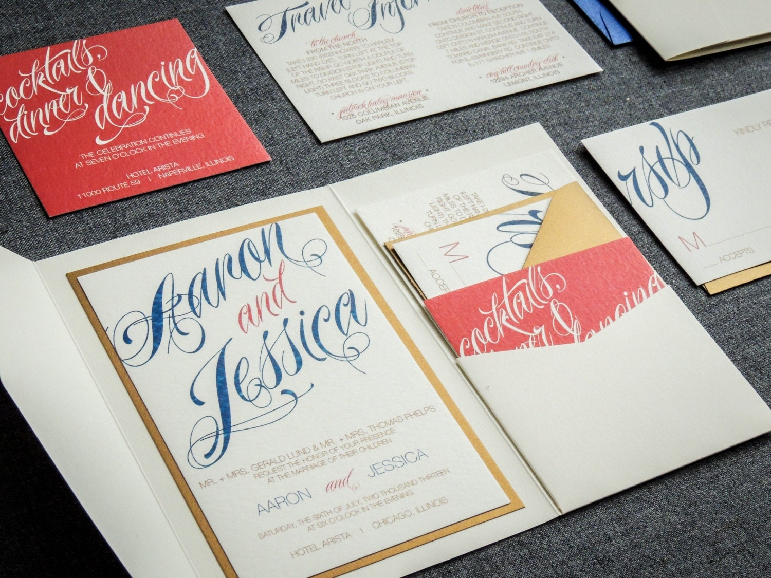 Blue And Coral Wedding Invitations: Coral And Navy Wedding Invitations Script Invitations Modern