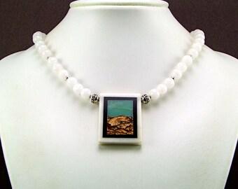 Fabulous Scenic Picture Jasper Intarsia Pendant Necklace -  N179