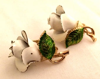 BERGERE stamped 1950s Floral Clip on Earrings Three Dimensional Flower Golden green White Enameling Rose Whimsical Authentic Vintage Jewelry