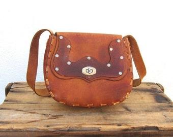 Vintage Floral and Silver Stud Tooled Tan Leather Satchel Handbag Purse