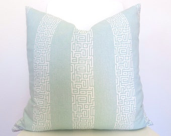 SALE - Greek Key Stripe Decorative Pillow Cover - Light Blue and Ivory - more sizes - Throw Pillow - Greek Key pillow - Light Blue Pillow