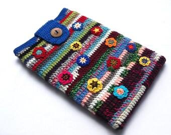 Crochet Laptop Sleeve 13 Inch, Mac Air Case, Mac Pro Case, Mac Book Case, Mac Book Sleeve - Spring Flowers