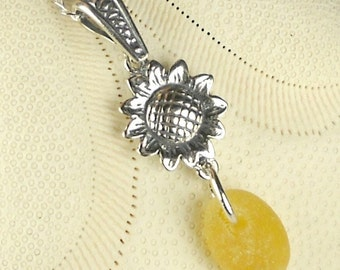 Sterling Silver Sunflower Jewelry Genuine Yellow English Sea Glass Necklace