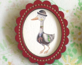 Well Dressed Duck Wooden Illustrated Frame Brooch - Red